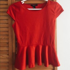 Forever 21 Tops | Red Peplum Top | Size Small